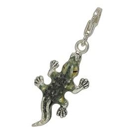 Anhänger Krokodil in echt Sterling-Silber 925 emailliert, Charm mit Karabiner, hochwertiger Ketten- oder Bettelarmband-Ein-/Anhänger