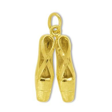 Anhänger Ballettschuhe in echt Gold, Charm, Ketten- oder Bettelarmband-Anhänger