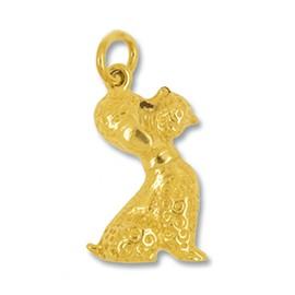 Anhänger Pudel, Hund sitzend in echt Gelbgold 375, 585 oder 750, Charm, Ketten- oder Bettelarmband-Anhänger