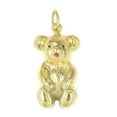 Anhänger Teddybär echt Gelbgold 375. 585, 750, Charm, Ketten- oder Bettelarmband-Anhänger