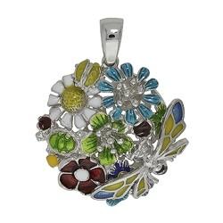 Anhänger Blumen, Schmetterling in echt Sterling-Silber 925 emailliert, Ketten- oder Schlüssel-Anhänger