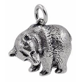 Anhänger Bär in Silber oder Gold, Charm T162, Schlüsselanhänger oder Kettenanhänger