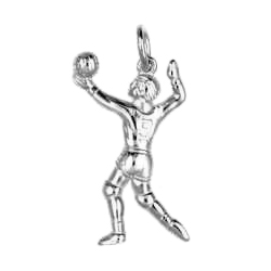Anhänger Volleyball, Charms in Silber & Gold