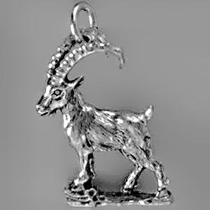 Anhänger Steinbock in Silber oder Gold, Charm T379, Schlüsselanhänger oder Kettenanhänger