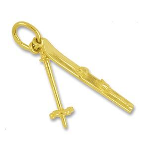 Anhänger Ski und Skistock in echt Sterling-Silber 925 oder Gold, Charm, Ketten- oder Bettelarmband-Anhänger