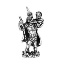 Anhänger Schutzheiliger Christophorus in echt Sterling-Silber 925 oder Gold, Ketten- oder Schlüssel-Anhänger
