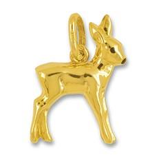 Anhänger Bambi in echt Gelbgold, Charm, Kettenanhänger oder Bettelarmband-Anhänger