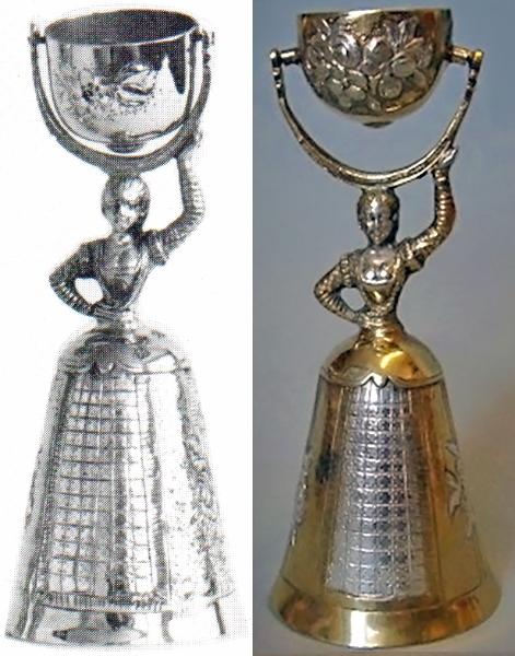 Brautbecher, Hochzeitsbecher in echt Sterling-Silber 925 teilvergoldet