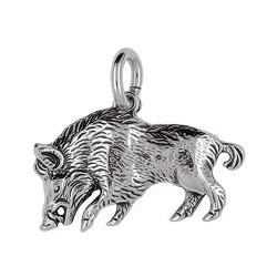 Anhänger Wildschwein in echt Sterling-Silber 925 oder Gold, Ketten- oder Schlüssel-Anhänger