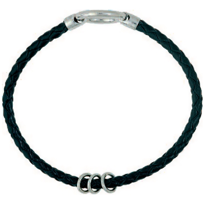 Schwarzes Lederarmband geflochten mit Spalt-/Federring und 3 Einhänge-Ösen in Sterling-Silber 925/000 für Anhänger, Charms oder Einhänger