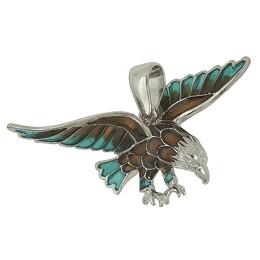Anhänger Adler in echt Sterling-Silber emailliert, Ketten- oder Schlüssel-Anhänger