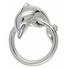 Federring Delphin, Schlüsselring mit Schnappverschluss, Schlüsselmechanik in Silber 925/000 für Anhänger