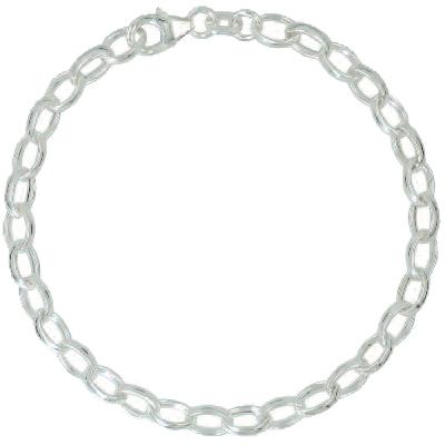 Armband / Ankerkette oval mit Schmuck-Karabiner-Verschluss und beweglicher Öse in Silber 925/000 für Anhänger oder Charms - j285