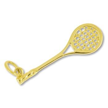 Anhänger Squashschläger in echt Gold, Charm, Ketten- oder Bettelarmband-Anhänger